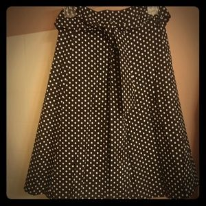Black and White polka dot A-line skirt with belt